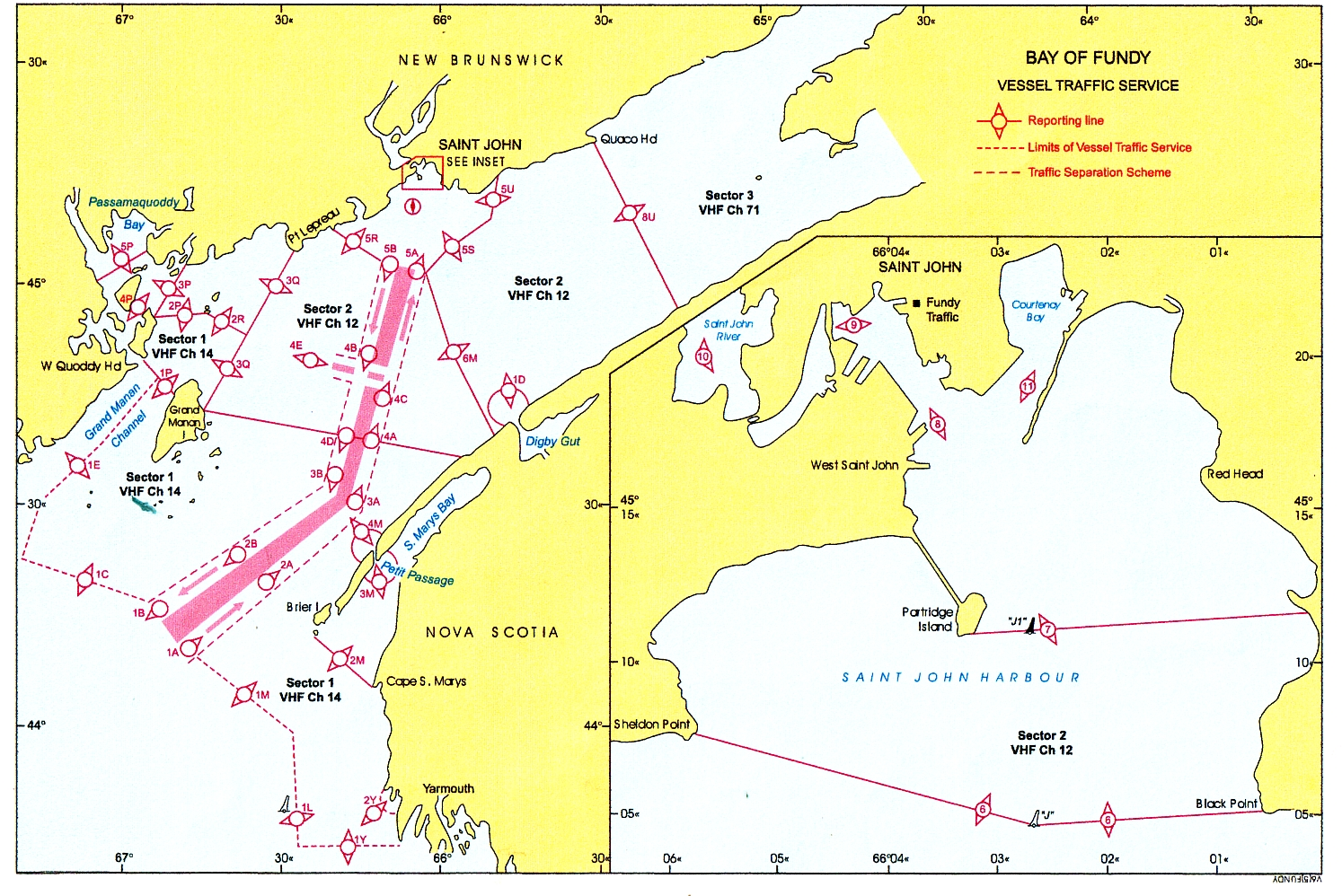 marine frequencies -  map